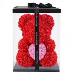 RoseBear, red, with heart or ribbon, 25cm wrap