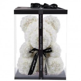 RoseBear, white, with heart or ribbon, 40cm cover
