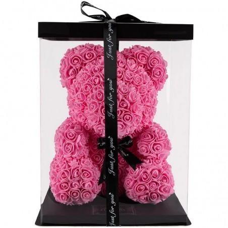 RoseBear, ροζ, με καρδιά ή κορδέλα, 40cm