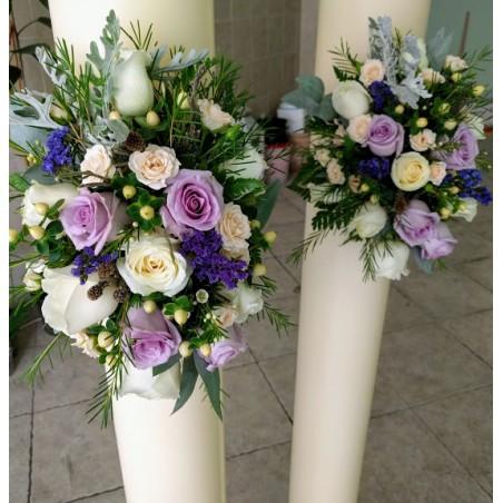 Λαμπάδες Γάμου Μώβ Τριαντάφυλλα