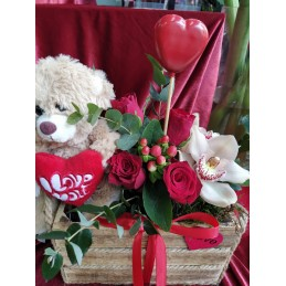 Valentine composition with teddy bear